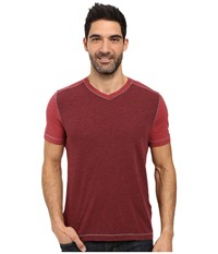 Agave Amboy Short Sleeve Tri Blend Slub Rosewood Men's Short Sleeve Pullover Red