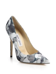 Jimmy Choo Anouk Floral Print Leather Pumps Blue Multi