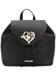 Love Moschino Heart Plaque Backpack Black