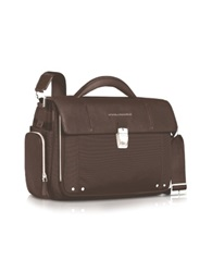 Piquadro Link Front Pocket Small Laptop Briefcase Dark Brown