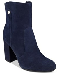 Tommy Hilfiger Natalai Ankle Booties Women's Shoes Navy Suede