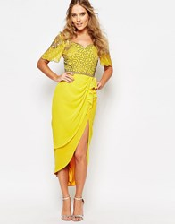 Virgos Lounge Laila Embellished Midi Dress With Thigh Split Light Yellow Multi