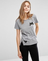 People Tree Organic Cotton T Shirt With Pocket Cat And Bird Print Light Grey Marl