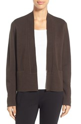 Eileen Fisher Petite Women's Long Sleeve Silk And Organic Cotton Open Front Jacket Peat