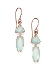 Suzanne Kalan Blue Chalcedony And 14K Rose Gold Double Drop Earrings