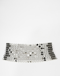 Asos Limited Edition Mesh Chain Choker Necklace Silver