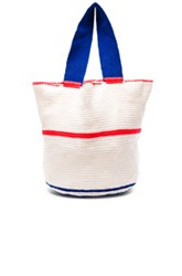 Sophie Anderson Jonas Woven Tote In White Stripes