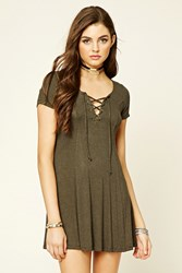 Forever 21 Striped Lace Up T Shirt Dress