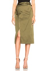 3.1 Phillip Lim Satin Knotted Waistband Skirt In Green