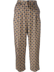 Incotex Geometric Print Trousers Brown
