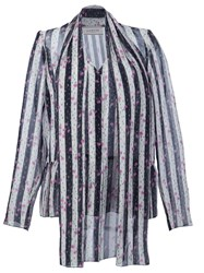 Lanvin Floral Striped Blouse Black