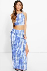 Boohoo Tie Dye Back Top And Maxi Skirt Co Ord Set Blue