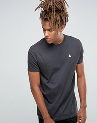 Asos Longline T Shirt With Logo In Grey Olive Green