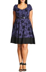 City Chic Plus Size Women's Flocked Lover Fit And Flare Dress