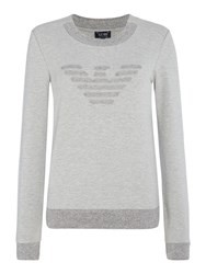 Armani Jeans Longsleeved Logo Sweatshirt Light Grey