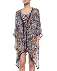 Red Carter Illusion Printed Kimono Coverup
