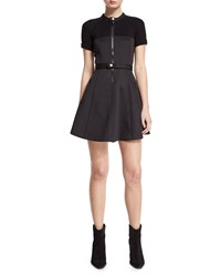 Red Valentino Zip Front Fit And Flare Mini Dress Nero Women's