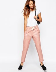 Asos Leather Look Joggers Blush