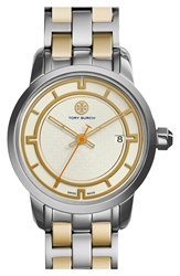 Tory Burch 'Tory' Small Round Bracelet Watch 28Mm Gold Silver