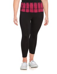Calvin Klein Performance Plus Tie Dye Accented Cropped Leggings Red