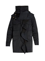 Muveil Detachable Hood Ruffled Parka Navy