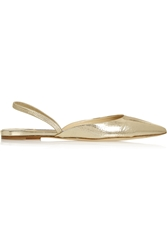 Jimmy Choo Genoa Snake Effect Leather Point Toe Flats