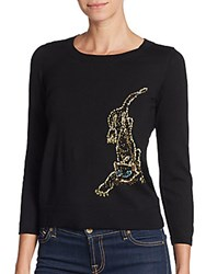 Milly Beaded Cheetah Merino Wool Sweater Black