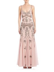 Mignon Sleeveless Beaded Gown Powder Pink
