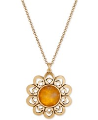 Lucky Brand Gold Tone Stone Flower Pendant
