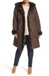 Gallery Plus Size Women's Faux Shearling A Line Coat Chocolate