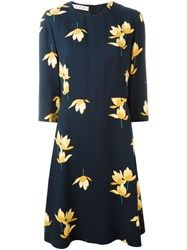 Marni Dawntreader Print Midi Dress Blue