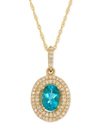 Macy's Apatite 9 10 Ct. T.W. And Diamond 1 5 Ct. T.W. Halo Pendant Necklace In 14K Gold Yellow Gold