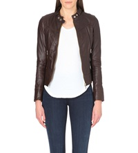Ted Baker Brezan Panelled Leather Jacket Bronze