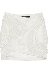 Jay Ahr Embellished Mesh Mini Skirt White