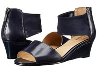 Trotters Maddy Navy Dress Kid Leather Soft Mesh Stretch Women's Wedge Shoes
