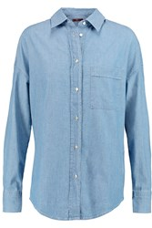 7 For All Mankind Slim Cigarette Chambray Shirt Blue