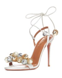 Aquazzura Disco Thing Sequin Embellished Sandal Silver