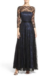 Tahari Women's Metallic Lace Fit And Flare Gown