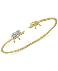 Wrapped Diamond Elephant Open Bangle Bracelet 1 6 Ct. T.W. In Sterling Silver And 14K Gold Plate Only At Macy's Two Tone