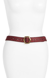 Lucky Brand Mosaic Embroidered Leather Belt Chocolate