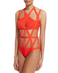 Herve Leger Bandage One Piece Swimsuit Vermillion