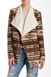 Fate Allover Print Foldover Jacket Brown