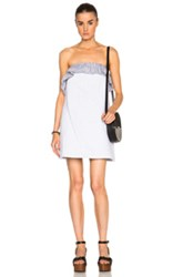 Thakoon Strapless Ruffle Mini Dress In Blue Stripes Gray