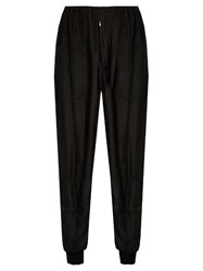 Katharine Hamnett At Ymc Ribbed Cuff Silk Georgette Trousers Black