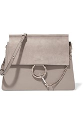 Chloe Faye Medium Leather And Suede Shoulder Bag Gray