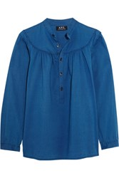 A.P.C. Atelier De Production Et De Creation Ingalls Ruched Cotton Chambray Blouse Storm Blue