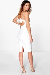 Boohoo Strappy Plunge Neck Bow Back Midi Dress Ivory