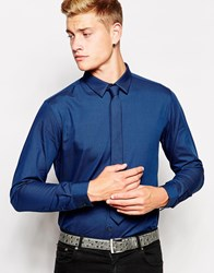 New Look Long Sleeve Shirt With Tie Brightblue