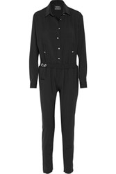 Anthony Vaccarello Stretch Wool Jumpsuit Black