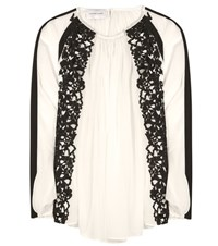 Zuhair Murad Macrame Lace Trimmed Silk Blend Blouse White